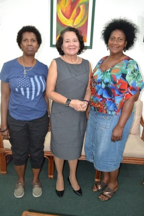 Ms. Joycelyn Thomas-Wilson, First Lady, Mrs. Sandra Granger and Ms. Dorrie Thomas-Crawford at State House