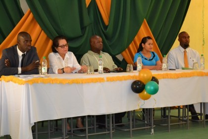 First Lady, Mrs. Sandra Granger is flanked by from L-R: Mr. Ronald Austin Jr, Training and Education Officer, Mr. Aubrey Norton, Presidential Advisor on Youth Empowerment and Ms. Anetta De Jesus, all of the  Youth Empowerment unit of the Ministry of the Presidency and Mr. Leon Stewart, a graduate and chairperson of the fourth Youth Leadership Training Programme.