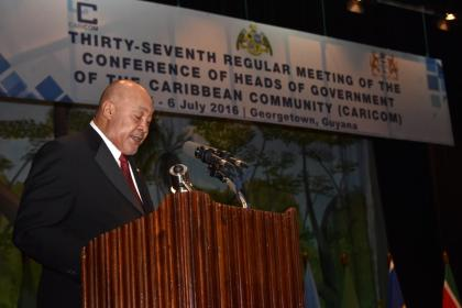 President of Suriname, Desi Bouterse, delivering remarks at the opening of the 37th Regular meeting of the CARICOM Heads of Government