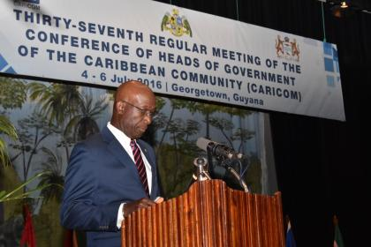 Trinidad and Tobago Prime Minister Keith Rowley giving his remarks at the opening ceremony of CARICOM's heads of government conference. Trinidad has lead responsibility for crime and security in the region