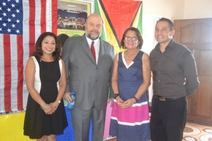 Ms. Sandra Shivdat, First Lady, Mrs. Sandra Granger, United States Ambassador to Guyana, His Excellency Perry Holloway and United States Army Captain Christopher Hill