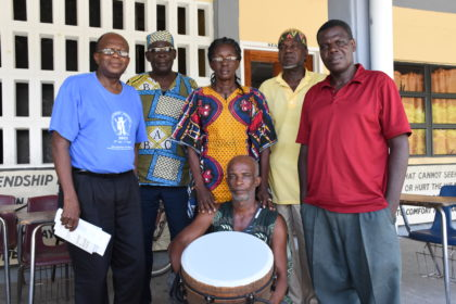 Village leaders Fitzroy Young, Linden France, Yvette Herod, Ronald Willabus, Neptune and Morris Wilson