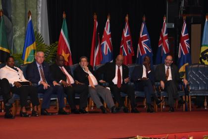 Heads of State take center stage at the 37th Regular meeting of the Conference of the Head of Government of the Caribbean Community (CARICOM) at the National Cultural Centre in Guyana