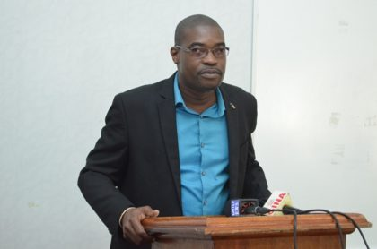 Minister of Public Infrastructure, David Patterson delivering remarks at the commencement ceremony of the Georgetown Drainage  Project