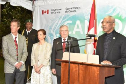 President David Granger addressing the attendees at the 'Canada Day' reception, which was held, last evening, at the High Commissioner's residence