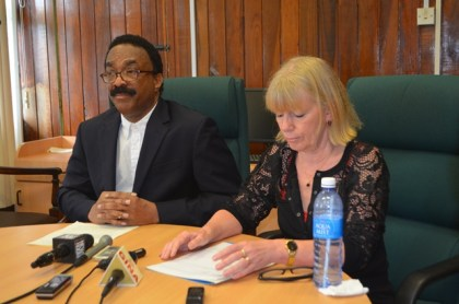 Attorney General and Minister of Legal Affairs Basil Williams and UNICEF's Country Representative for Guyana Marianne Flach at today's press conference held at the Attorney General Chambers.