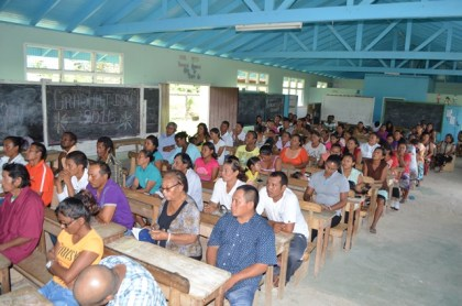 A section of the residents at the meeting at the Moco Moco Primary School