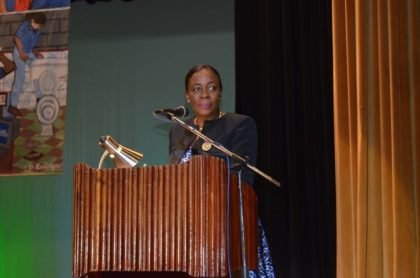 Minister within the Ministry of Education, Nicolette Henry delivering the feature address