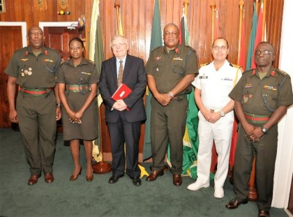 From left Col Paul Arthur, Lt Col Lorraine Foster , High   Commissioner Pierre Giroux , Brigadie