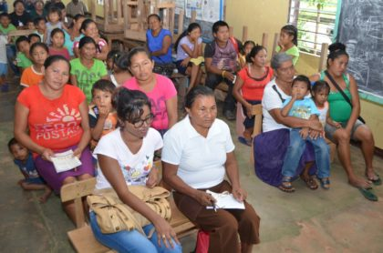 Residents of Hiawa, Region Nine  at the meeting with Minister of Social Cohesion, Amna Ally