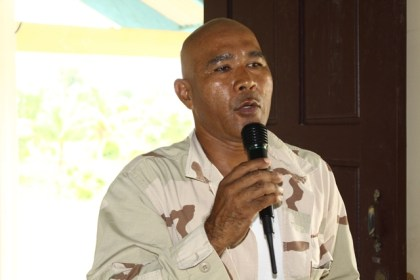 Chairman of the National Toshaos Council, Joel Fredericks addressing the residents of Akawini