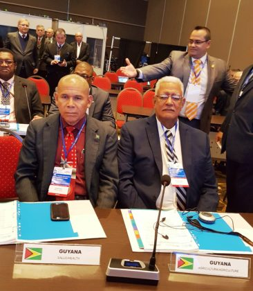 Ministers of Health and Agriculture Hon. Dr. George Norton and Hon Noel Holder at the 17th Inter-American Ministerial meeting on Health and Agriculture in Asuncion, Paraguay