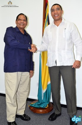 OPM Photo - Prime Minister Moses Nagamootoo welcomes Prime Minister Andrew Holness