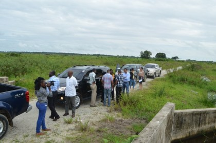 Minister within the Ministry of Communities Valerie Sharpe Patterson inspects areas in Lust-en-Rust