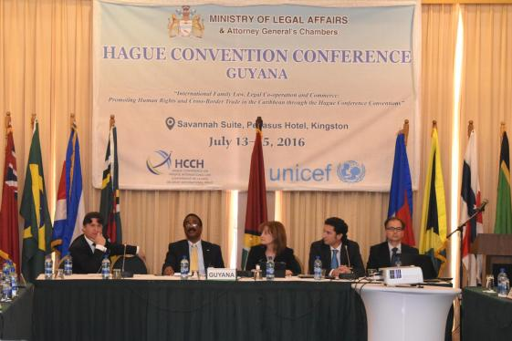 Panel on the Hague's Child Abduction Convention (from left to right) Presenter Richard Williams of the Grand Cayman, Chair of the session Attorney General and Minister of Legal Affairs, Basil Williams, Presenter Judge Cathy Hollenberg Serrette of the US, Secretary General of the HCCH, Christophe Bernasconi (answering question) and Latin American Representative of HCCH, Ignacio Goicoechea.