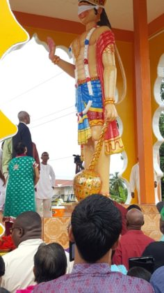 President David Granger took part in the ceremonial bathing of the murti at Blairmont, this morning.