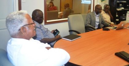 Agri. Minister Noel Holder sits with CEO of GLDA Mr. Nigel Cumberbatch,Rear Admiral (Rtd) Gary Best, Presidential Advisor on the Environment and Mr. Charles Griffit during the meeting