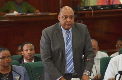Minister of Natural Resources Raphael Trotman in the National Assembly.