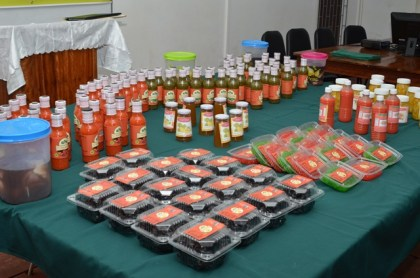 Some of the fruits and vegetables processed by the youths who participated in the Agro-Processing Training Programme