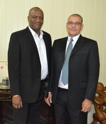 Minister of State, Mr. Joseph Harmon and Commissioner General of the Guyana Revenue Authority, Mr. Godfrey Statia at the Ministry of the Presidency, today.