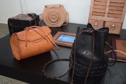 Some of the leather work displayed at the Umana Yana at the Burrowes School of Art exhibition
