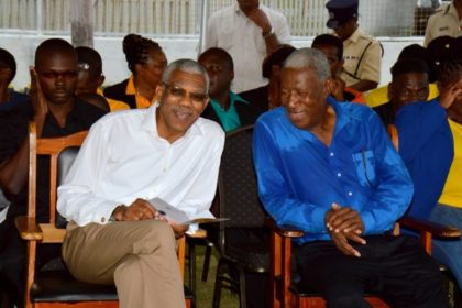 President David Granger shares a light moment with Chairman of the Hamilton Lashley Human Development Foundation, Mr. Hamilton Lashley, before the commencement of the event this morning.
