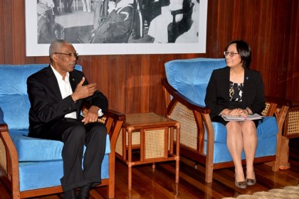 President David Granger conversing with UNDP Resident Representative, Ms. Mikiko Tanaka