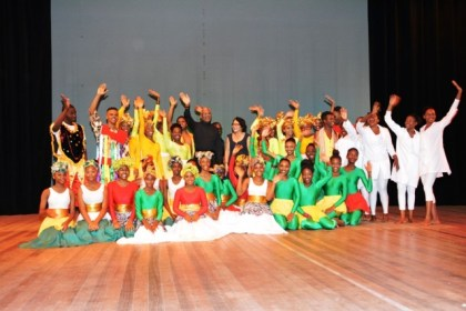 President David Granger and First Lady, Mrs. Sandra Granger (centre) are all smiles as they share a photo opportunity with the performers of 'A celebration of African Heritage 9' Dance Production, which was staged by the National Dance Company, in collaboration with the Department of Culture, Youth and Sport.