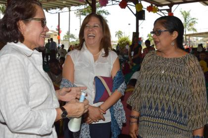 First Lady Mrs. Sandra Granger, Mrs. Sita Nagamootoo, wife of Prime Minister Moses Nagamootoo and Mrs. Rosaura Holloway, wife of US Ambassador Perry Holloway shares a light moment the CIOG's Annual orphans Fun Day