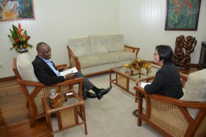 Minister Harmon makes a point to Ms. Tanaka ,during their meeting this afternoon at the Ministry of the Presidency.