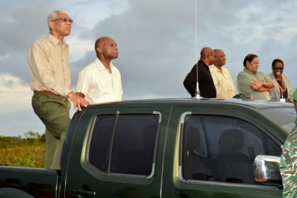 President David Granger and Minister of Foreign Affairs, Mr. Carl Greenidge, viewing the 'final attack' of the Exercise.