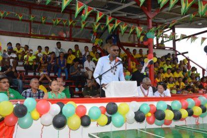 Director of Sport, Mr. Christoper Jones declares the Upper Mazaruni 19th Annual District Games open.