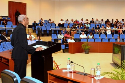 President David Granger delivering the keynote address at the opening of the Fourth International Congress on Biodiversity of the Guiana Shield