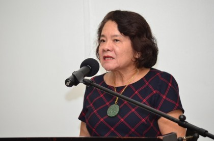 First Lady, Mrs Sandra Granger making remarks at the high-level policy dialogue on adolescents and youths