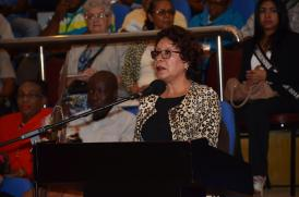 Minister within the Ministry of Indigenous Peoples' Affairs, Valerie Garrido-Lowe addressing the toshaos