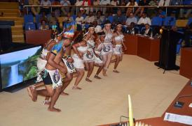The Mainstay Cultural group performing a dance at the opening of the National Toshaos Council (NTC) conference