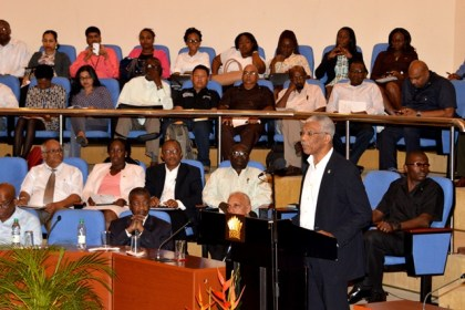 President David Granger delivering the feature address at the Sustainable Livelihood and Entrepreneurship Development (SLED) Initiative award ceremony