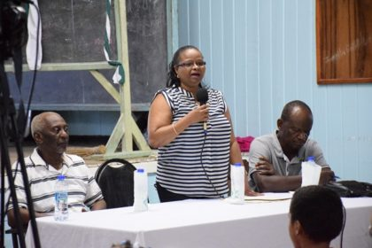 - Minister of Social Protection Volda Lawrence addressing the residents at the meeting in Linden