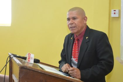 Public Health Minister, Dr. George Norton making remarks at the opening ceremony of the Food Policy Division's two-day education session on nutrition with pregnant teenagers in Linden