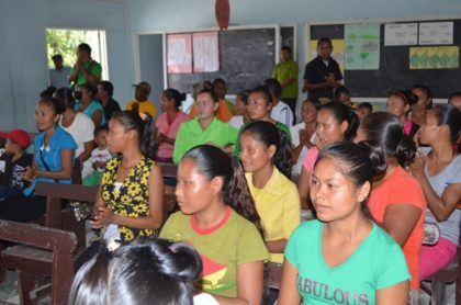Residents of Santa Rosa during the community meeting with Minister of Indigenous Peoples' Affairs Sydney Allicock and his team