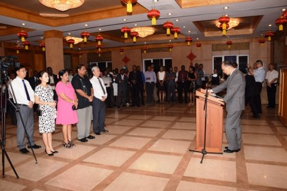 Prime Minister Moses Nagamootoo, his wife Sita Nagamootoo, along with Chinese Ambassador to Guyana Zhang Limin and his wife at the reception for the most recent batch of Guyanese who completed training in China