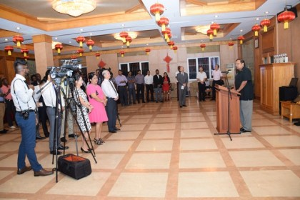 Prime Minister Moses Nagamootoo addressing guests at the reception for the most recent batch of Guyanese who completed training in China