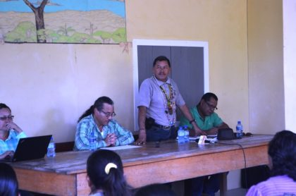 Minister of Indigenous Peoples' Affairs, Sydney Allicock addressing residents of Warapoka, Region One