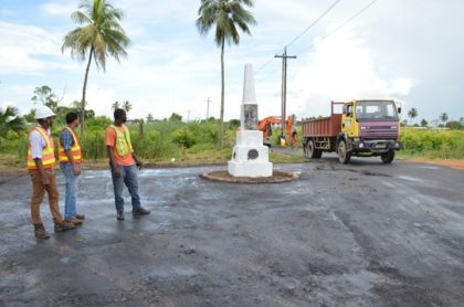 Ministry of Public Infrastructure's contractors conducting road rehabilitation works at Louisa Rowe, Georgetown