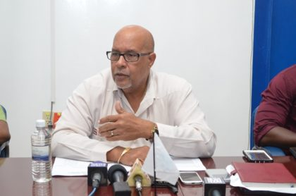 Chief Executive Officer (CEO) of the Guyana Water Incorporated, Dr. Richard Van West Charles addressing the media