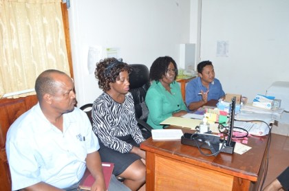 The team of officials addressing the staff of the Lethem Hospital, Region Nine.  From Left to right: Regional Executive Officer, Carl Parker, Director of Regional Health Services Dr. Kay Shako, Minister within the Ministry of Public Health Dr. Karen Cummings and Regional Health Officer,  Region Nine, Dr. Chowdhry