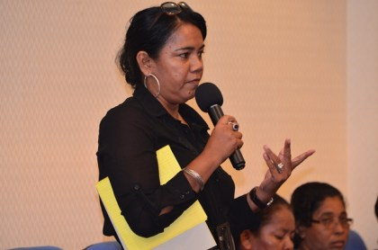 Colleen Singh, Indigenous Village leader poses a question about the Community Development Council