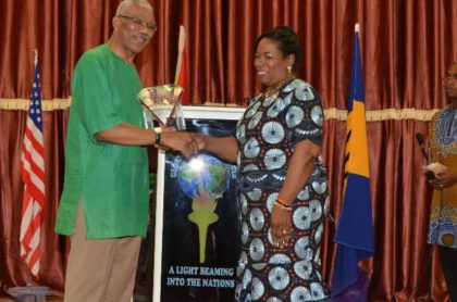 The  Plaisance Glory Light Tabernacle presents President David Granger with a plaque in honour of his service and leadership for the restoration of the Cooperative Republic of Guyana.
