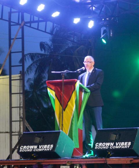 Minister of Business Dominic Gaskin while delivering remarks at the opening of teh Berbice Expo