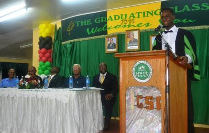 St. Kitts national and graduating student of GSA, Mr. Shevaun Johnson while delivering the vote of thanks at the graduation ceremony.